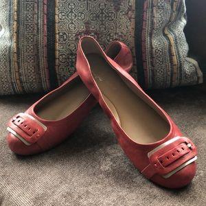 EUC Franco Sarto Red AElegance Leather Flat Sz 9.5